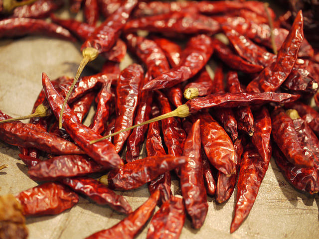 dried chilli peppers smoked