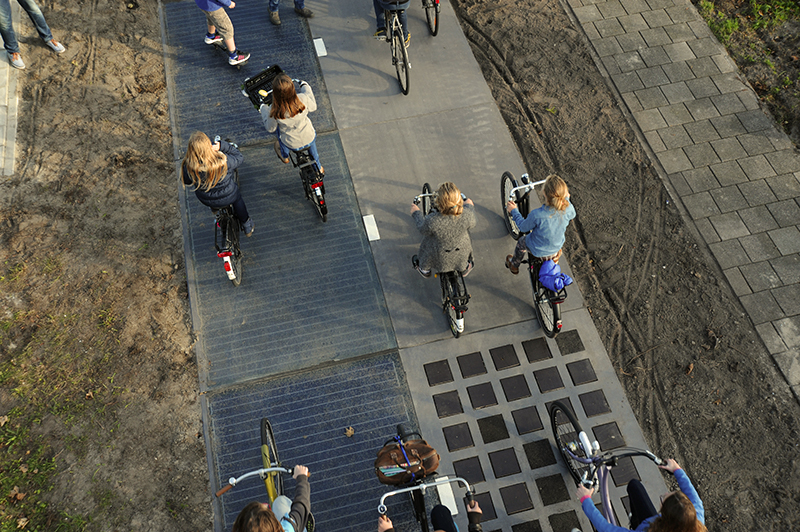 solar bike path in Netherlands